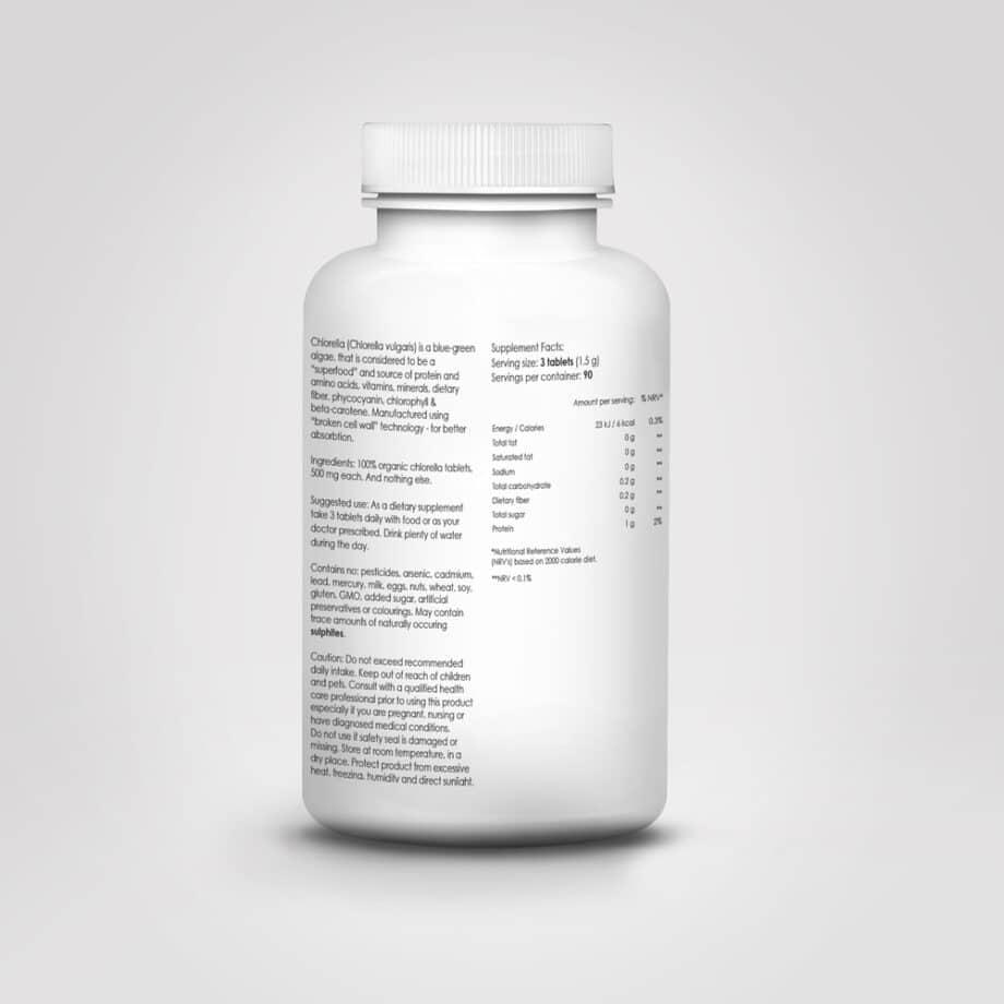 Maisto papildas ekologiska chlorella tabletemis tabletes imunitetui ir virskinimui