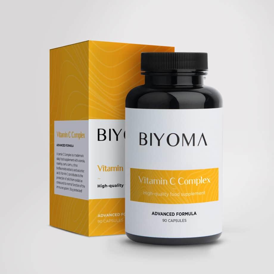 Maisto papildas imunitetui. Vitamino C kompleksas, su augaliniais ekstraktais.